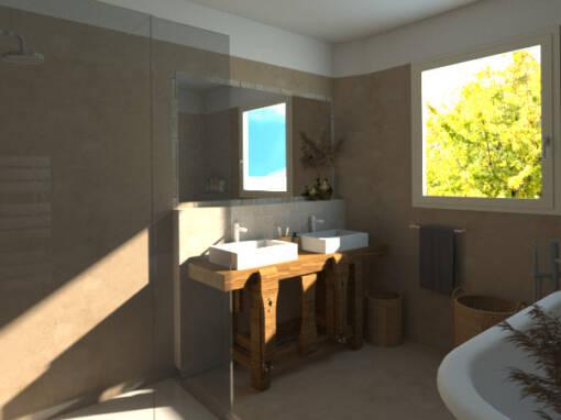 Rénovation d'une salle de bain en béton ciré à Messanges (40)