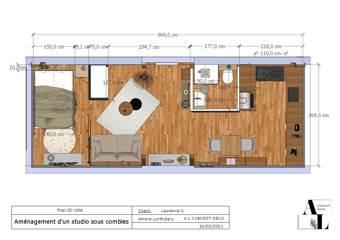 Projet de conception d'un studio sous les toits à Vieux Boucau les bains - A.L CONCEPT DECO Ambre Lortholary