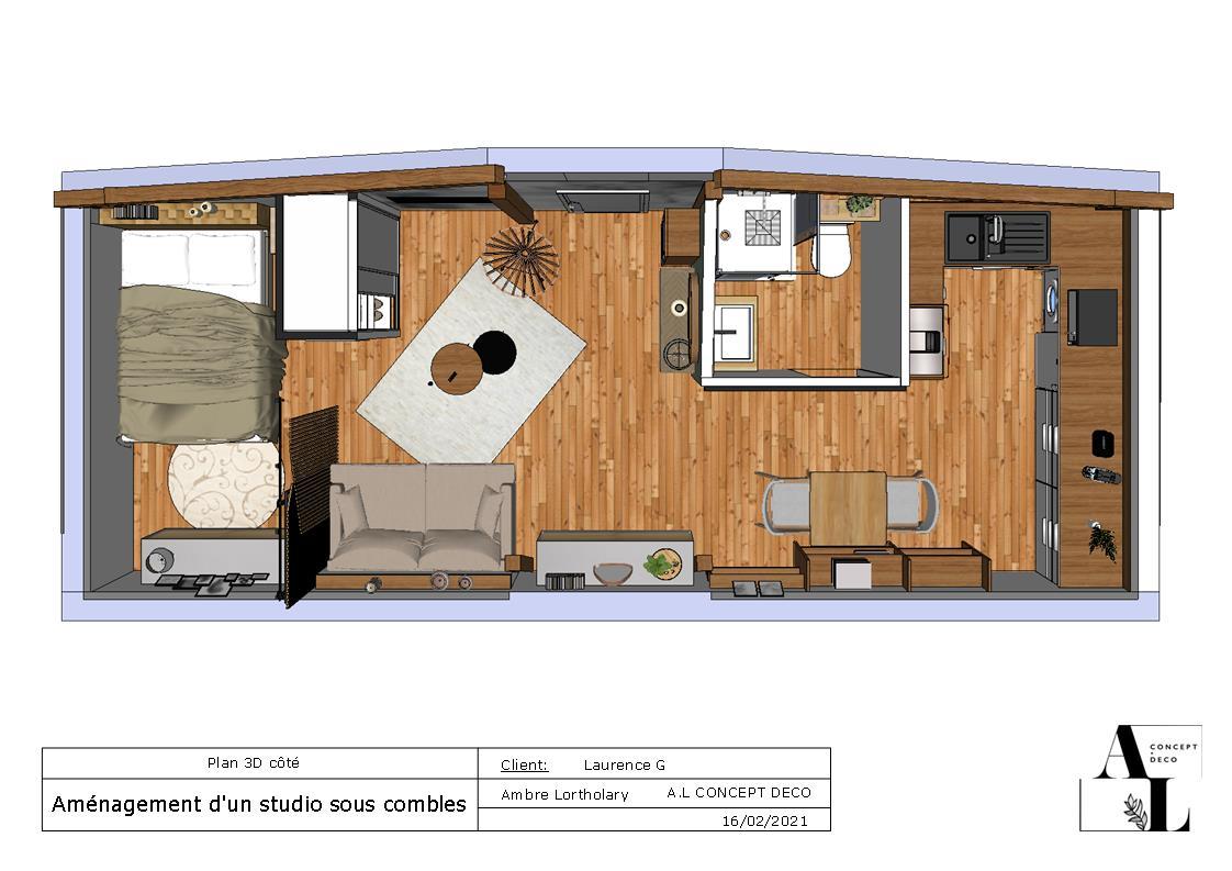Plan 3D projet d'appartement sous les combles à Vieux Boucau