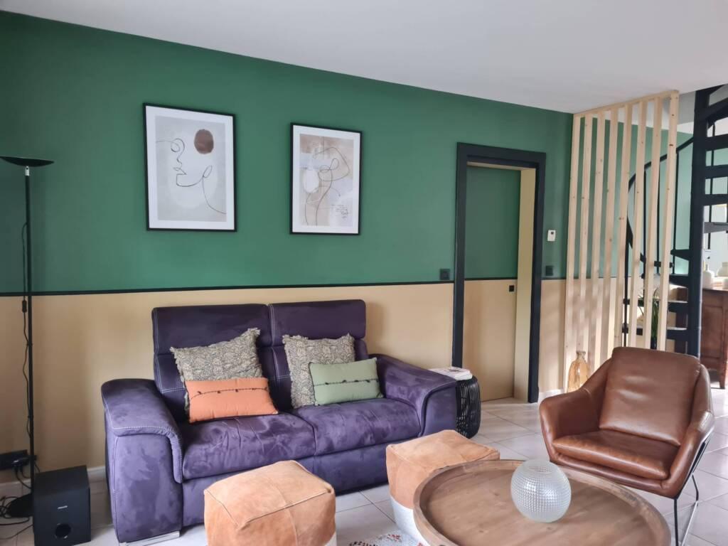 Décoration salon style classique et moderne vert et ocre - A.L CONCEPT DECO Landes&Pays Basque